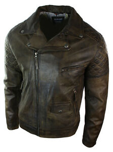 Mens Vintage Washed Brown Black Real Leather Biker Jacket Cross Zip Retro Casual