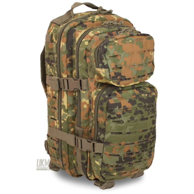 Mil-Tec Small Laser MOLLE Army Daysack Assault Pack Rucksack 20L Flecktarn Camo