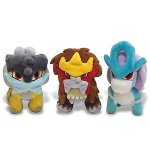 "Japanese Pokemon  Raikou Entei Suicune Plush 6/"" Toys SHIPS FROM USA!"