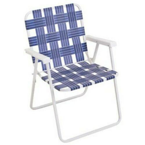 Wht Steel Frame RIO Gear Rio Brands BY055-0138 Folding Web Chair Blue Webbing