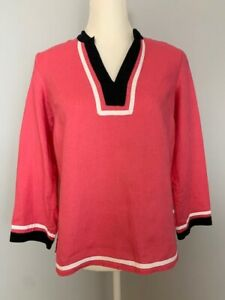 Talbots-Petites-Women-Blouse-Top-Size-P-Pink-Black-White-V-Neck-Linen-3-4-Sleeve