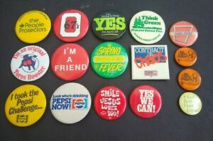 Pin-back-Buttons-Vintage-Various-Assorted-Button-Pin-Back-Lot-Of-16