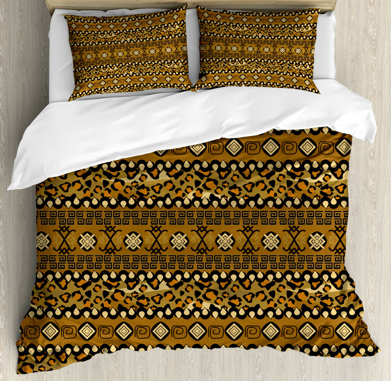 Zambia Duvet Cover Set with Pillow Shams Wild Tropical Animal Print