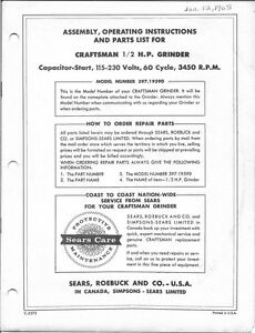 Magnificent Details About 1966 Craftsman 397 19590 Bench Grinder Operating Instructions Parts List Beatyapartments Chair Design Images Beatyapartmentscom