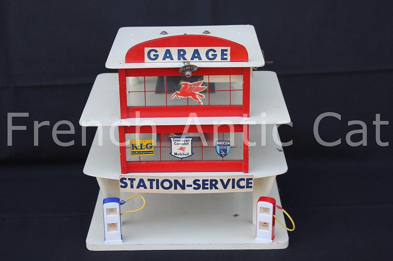 U698 Rare Garage Majolu Old Wood Vehicle Miniature Station Service Mobiloil