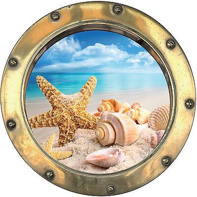 Sticker hublot Tortue en trompe l/'oeil H309 H309