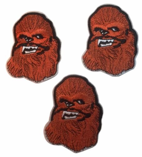 "Star Wars Chewbacca Head  2 1//2/"" Wide Embroidered Iron On Patch Set of 3"