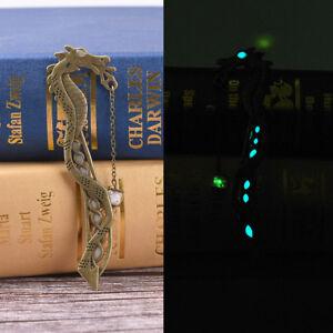 Retro-Glow-In-The-Dark-Leaf-Feaher-Book-Mark-With-Dragon-Luminous-Bookmark-TECA