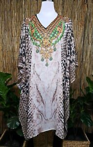24 22 Chiffon Sheer Size Plus Embellished Digital Kaftan 16 20 Printed 18 PvqTTn
