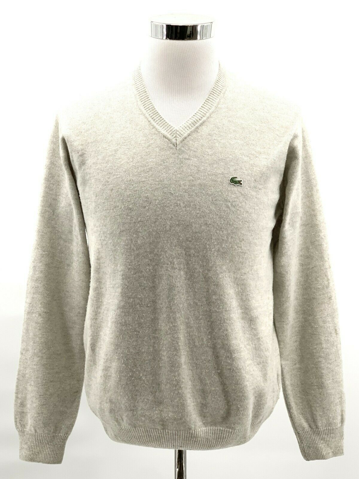LACOSTE MEN/'S WOOL JERSEY V-NECK JUMPER//SWEATER GOLD CROC FR 3 SMALL rrp:-£140