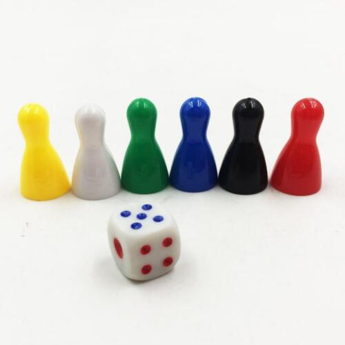 6Pcs Colorful Pieces Pawn Chess Plastic Pieces Dice Set for Board Card Games
