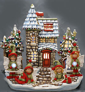 """Ceramic Bisque Ready to Paint """"Winter Fairy Land"""" pin lights, electric included"""