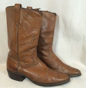Acme-Vintage-60s-70s-Brown-Distressed-Leather-Size-9-D-Mens-Cowboy-Western-Boots
