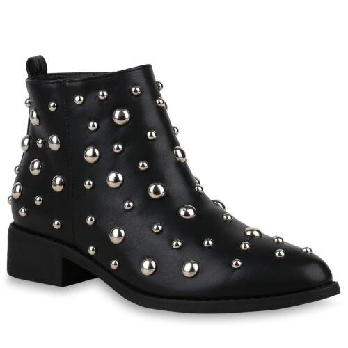 Damen Stiefeletten Ankle Boots Leder-Optik Booties Nieten 825370 Schuhe