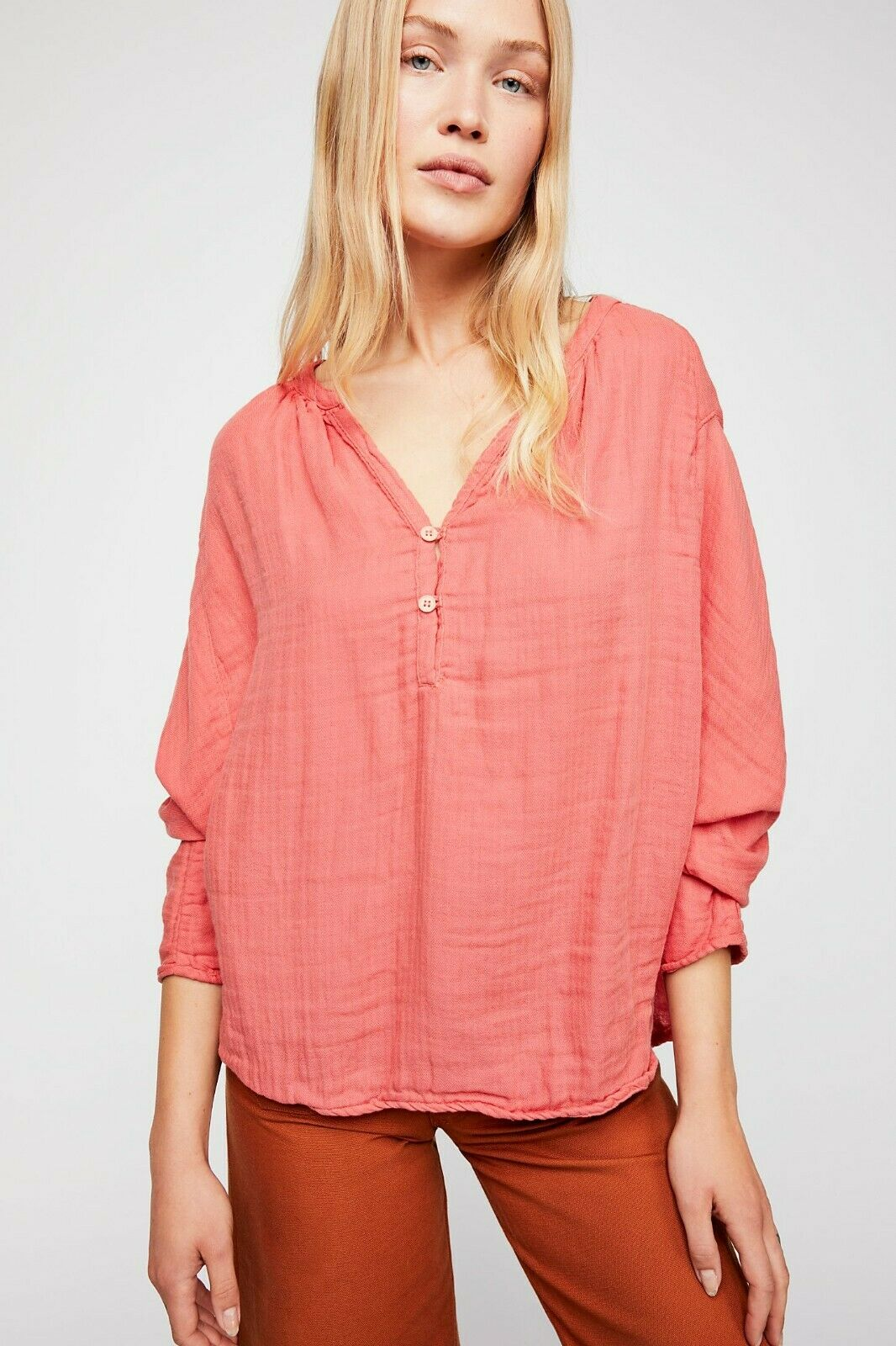 New Free People CP Shades Doublecloth Solid Farbe Coral Top Sz Small & Large
