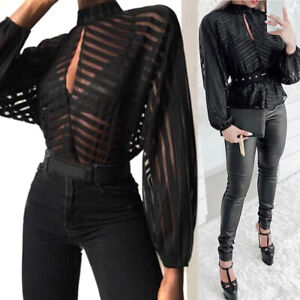 Women-Long-Sleeve-Front-Mesh-Blouse-Stripes-Keyhole-Hollow-Out-Tops-Blouses-Tees
