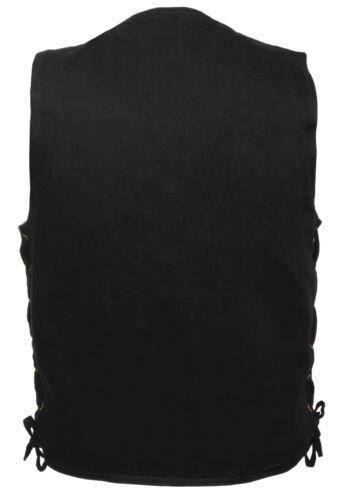 Gun Pocket Men/'s Black Denim Side Lace Biker Vest w// Classic Snap Front Design
