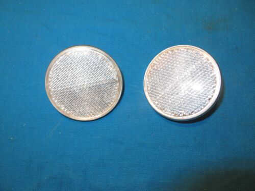"""Set of 2 Bicycle Round White Reflector Diameter 2-1//4/"""" With Medal Back"""