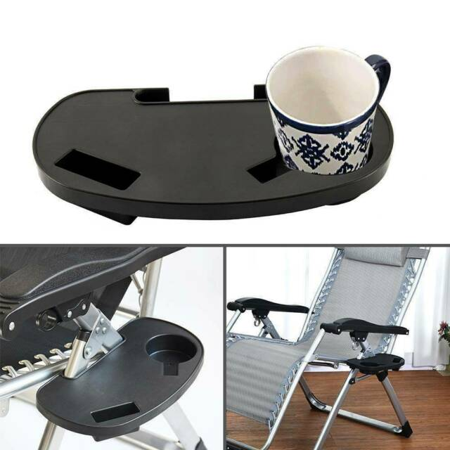 Sun Lounger Chair Tray Side Clip Table Garden Recliner Cup Drinks Holder Useful