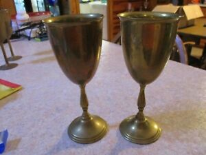 Brass-Wine-Vintage-Goblets-India-Set-of-2-Stem-Chalice-Tall-Glasses