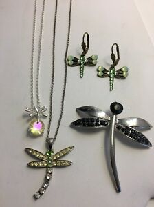 Vintage-Modern-Dragonfly-Jewelry-Lot-2-Necklaces-Pin-Earrings-Rhinestone-925
