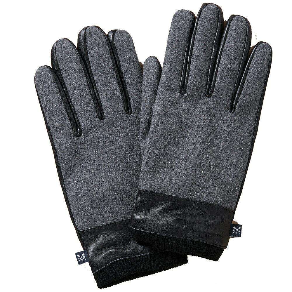 Crew Clothing Mens Wool And Leather Warm Smart Gloves