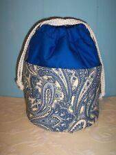 BLUE PAISLEY   BINGO TOTE BAG/ dark BLUE TOP