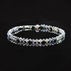 Crystal Ab and Silver Hematite Anklet made with Swarovski Elements