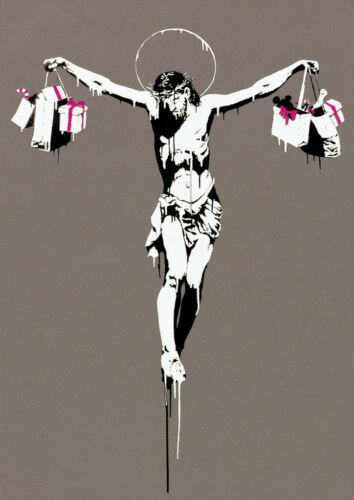 Poster Print A4 Banksy Consumer Jesus A3