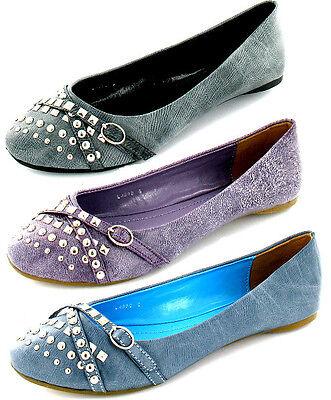 Damen Update Freizeit Flach Balletschuhe/Pumps schwarz, lila und blau l4890