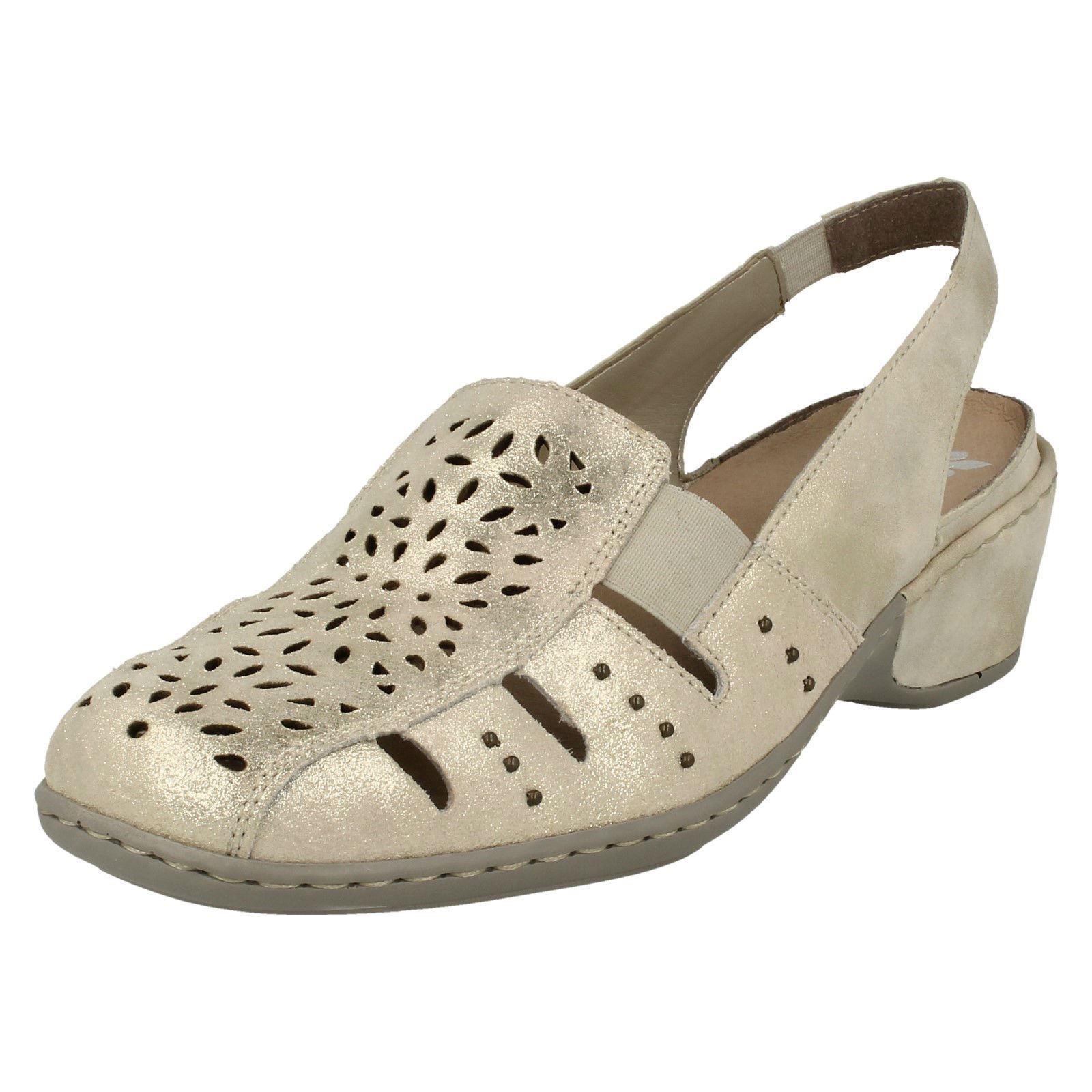 Ladies Beige (Light gold) Leather Sling Back Rieker shoes 47190