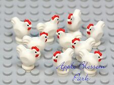 NEW Lego Lot/10 Minifig WHITE CHICKEN -Castle Farm Bird Hen Chick Rooster Animal