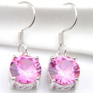Gorgeous-Round-Natural-Pink-Fire-Topaz-925-Silver-Plated-Dangle-Hook-Earrings