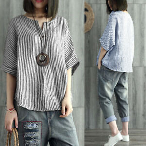 Womens-Striped-Batwing-Sleeve-Casual-Baggy-Tops-T-Shirt-Laides-Blouse-Plus-Size