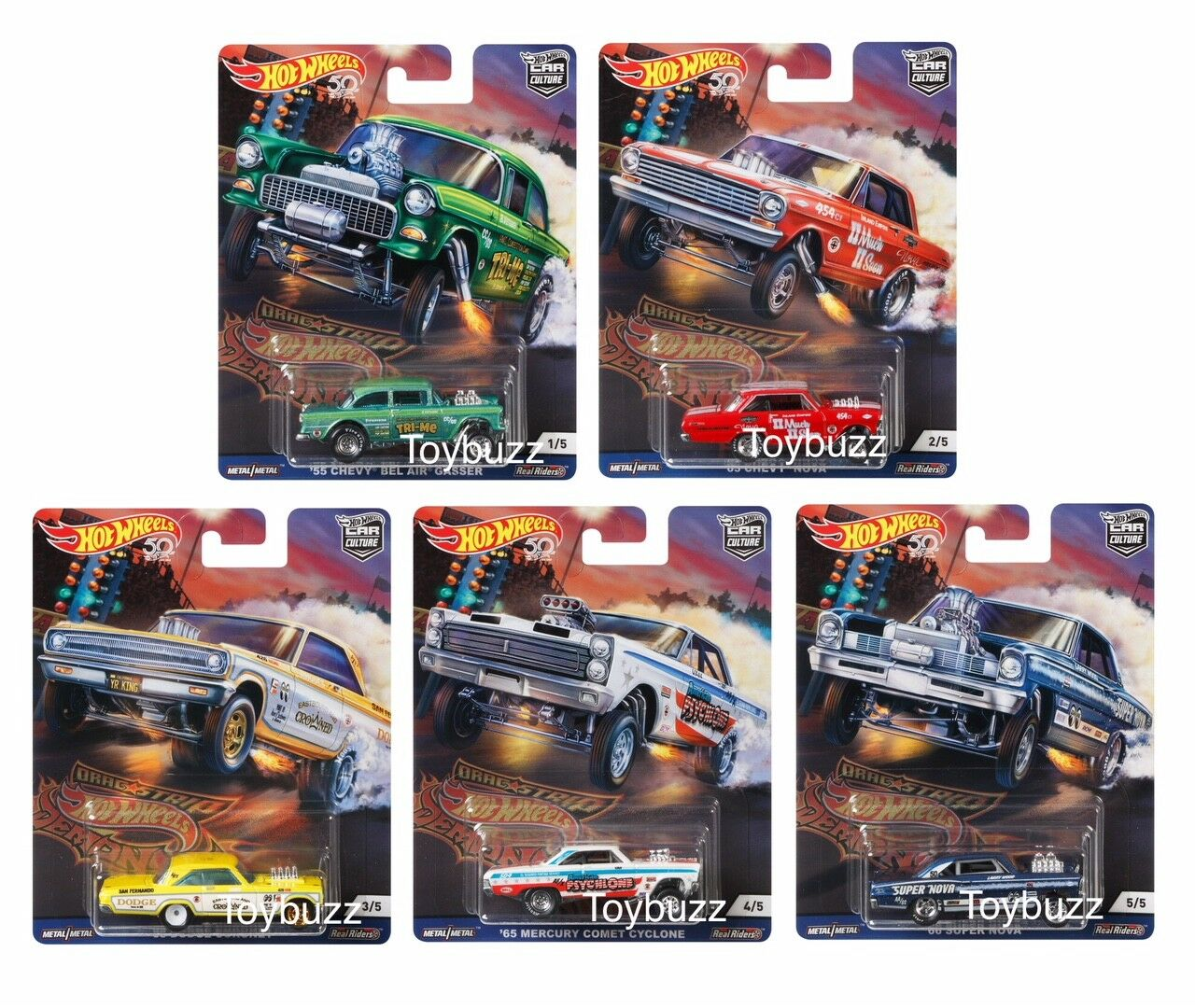 heta hjul 1 64 bil Culture DRAG STRIP DEMONS CASE OF 10 FPY86 -956F