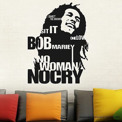 Bob Marley Wall Decal Sticker Decor Sticker No Woman No Cry Reggae Jamaica US