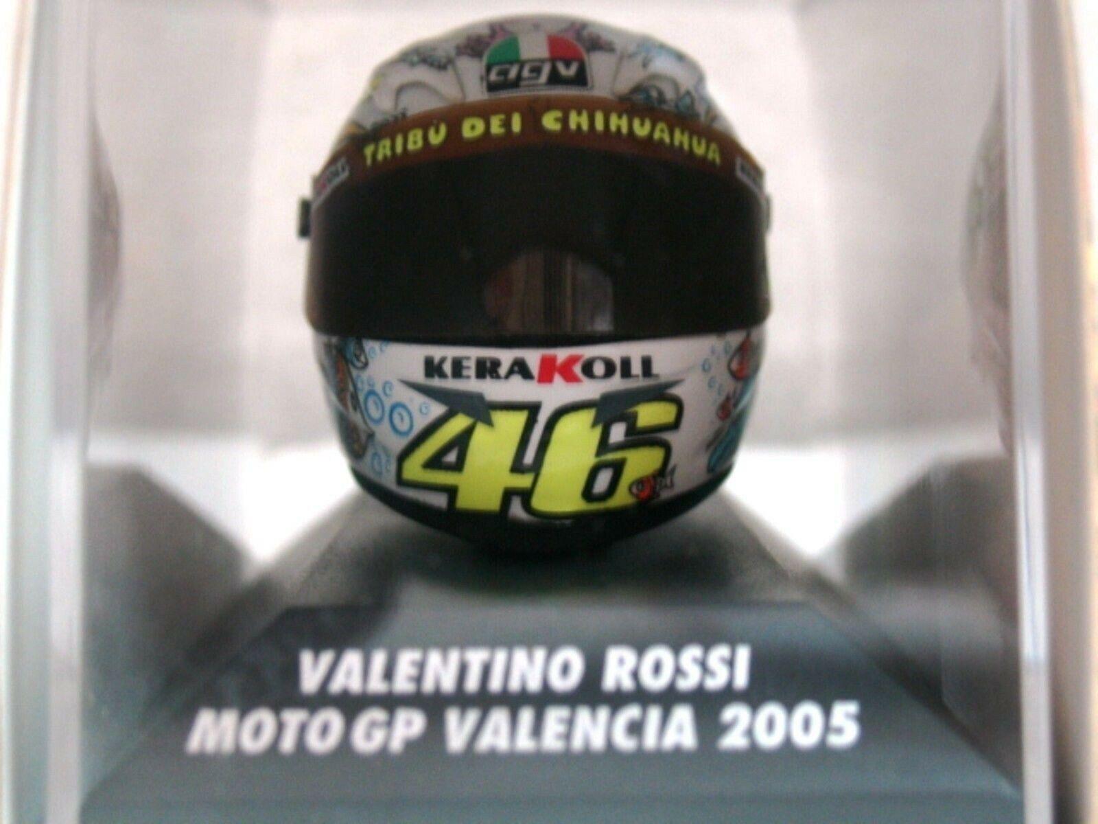 Wow extrêmement rares V. Rossi AGV Casque Moto GP Valencia 2005 Entièrement neuf dans sa boîte 1 8 Minichamps