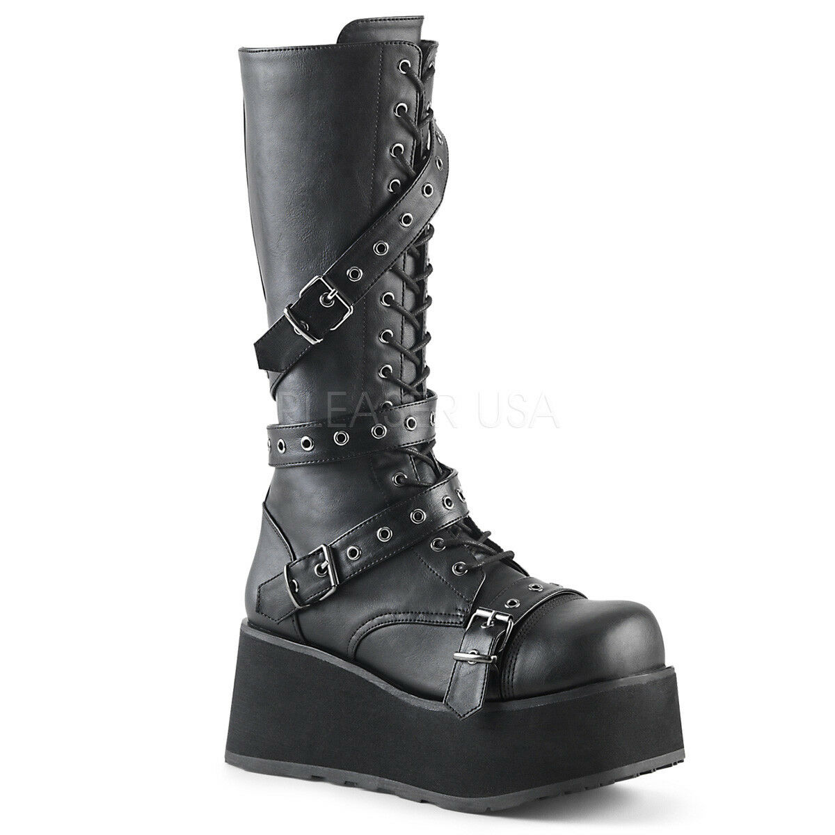 DEMONIA TRA520 BVL Men's Gothic Punk Black Platform Knee High Boots with Straps