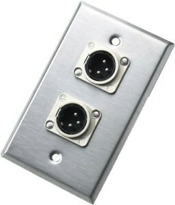 Neutrik 203M Wall Plate Single Gange Stainless with 2 NC3MD-L-1 Male XLR/'s