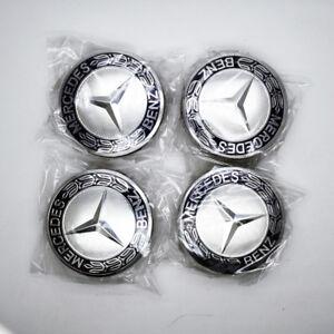 4pcs-Hot-Wheel-Emblem-Hub-Center-Caps-Laurel-Wreath-Black-75mm-For-Mercedes-Benz