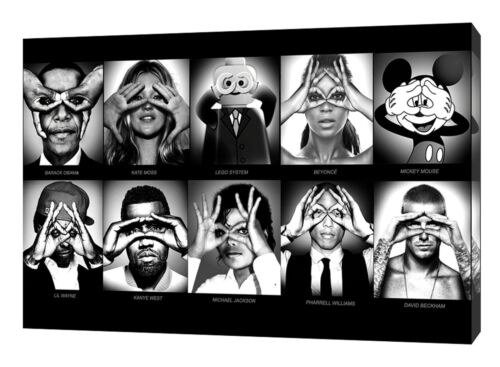 FAMOUS FACES  BLACK AND WHITE  PHOTO  PRINT ON WOOD  FRAMED CANVAS WALL ART