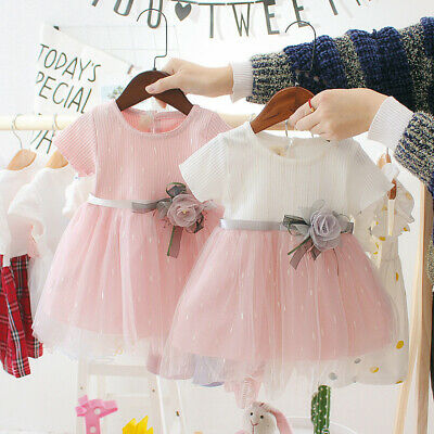 Summer Toddler Baby Girl Mesh Stitching Short Sleeve Princess Dress Outfit 6M-3T