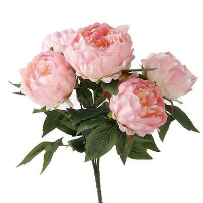 Pink 5-Head ArtificialPeony Silk Flower Bouquet Wedding Home DIY Decoration
