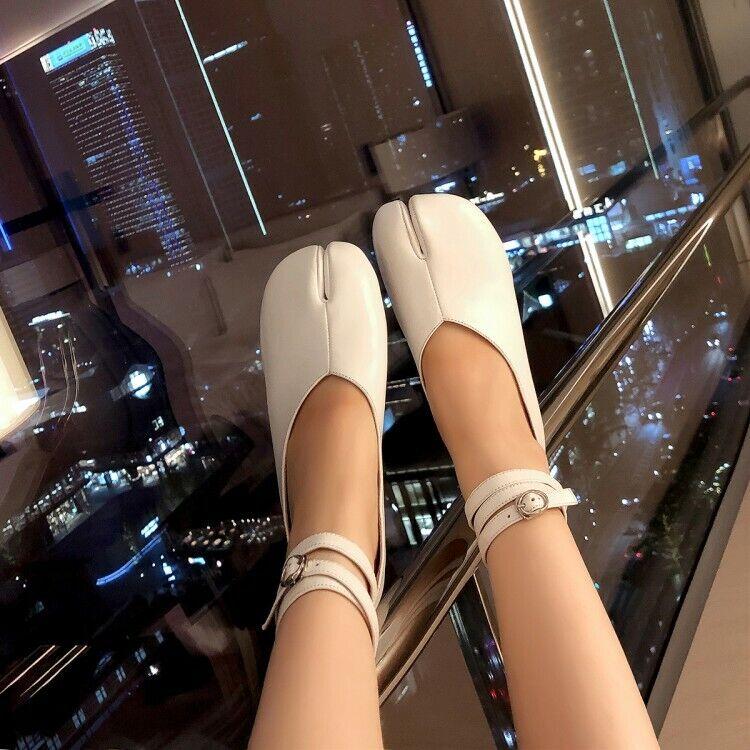 Haut Femme Trendy Split Toe Cheville Sangle chaussures élégante robe chaussures escarpins Mi Talons