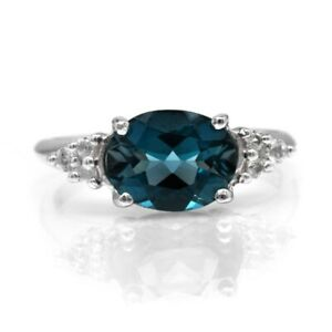 9x7mm-Natural-London-Blue-Topaz-Ring-With-Topaz-in-925-Sterling-Silver