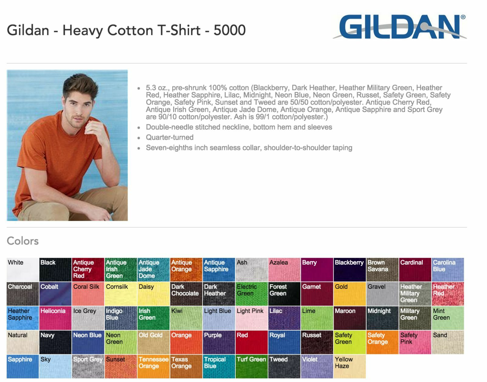 Gildan 5000 T-Shirts Blank Bulk Lot Farbes or Weiß S-XL Wholesale