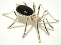 Navajo Onyx Sterling Silver Spider Pin - Emily Spencer