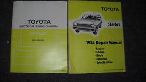 1984 Toyota Starlet Service Shop Repair Manual Set OEM W Wiring Diagrams OEM