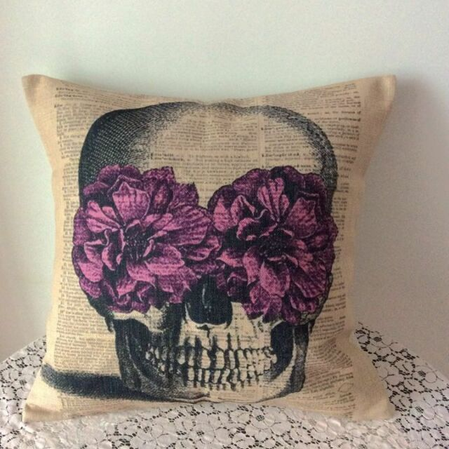 Vintage Flower Skull Cotton Linen Cushion Cover Throw Pillow For Home Decor B224