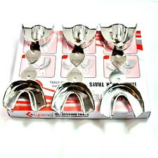6 Ea German Dental Stainless Steel Non Perforated Impression Trays Autoclavable